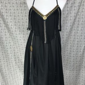 Free People Black Asymmetrical BOHO Dress Size M